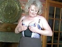 Granny, Blonde, Masturbation, Stockings