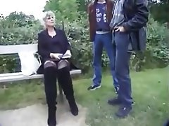 Double Penetration, Granny, Outdoor, Stockings